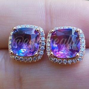 Rose Gold Purple Rainbow Diamond Halo Earrings